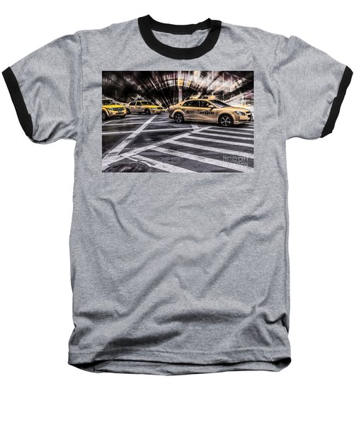 Nyc Yellow Cab On 5th Street - White Baseball T-Shirt