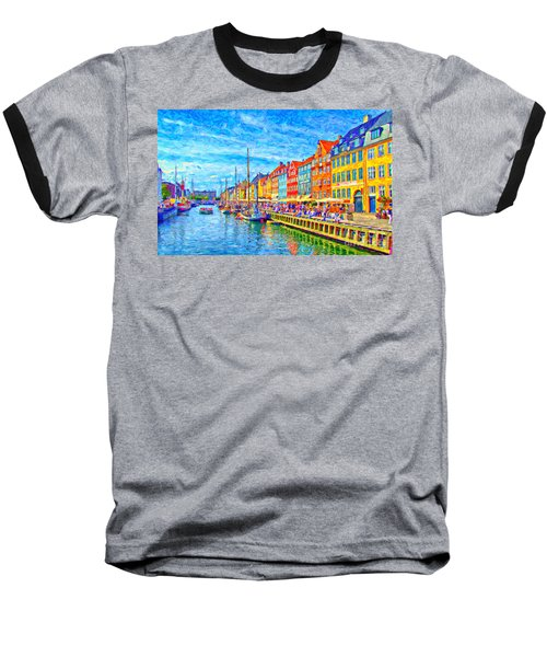 Nyhavn In Denmark Painting Baseball T-Shirt