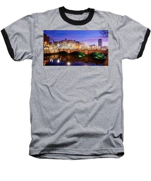 O Connell Bridge At Night - Dublin Baseball T-Shirt
