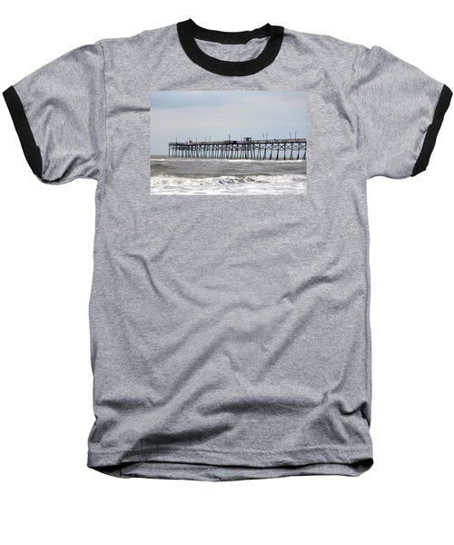 Oak Island Beach Pier Baseball T-Shirt