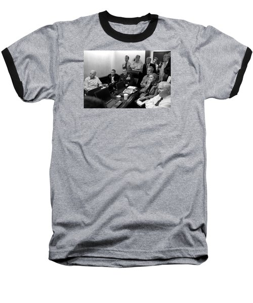Obama In White House Situation Room Baseball T-Shirt by War Is Hell Store