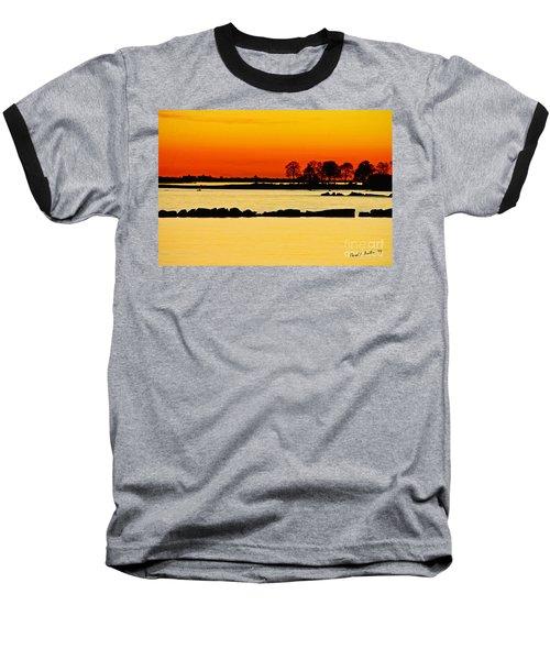 Orange Sunset Baseball T-Shirt by Carol F Austin