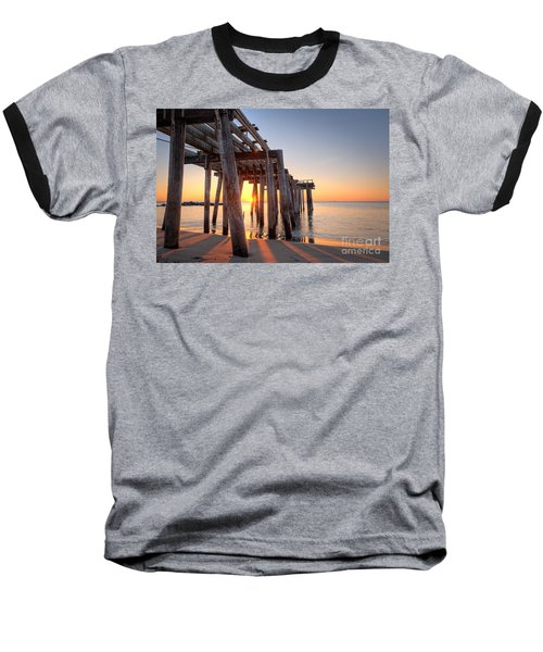 Ocean Grove Pier Sunrise Baseball T-Shirt