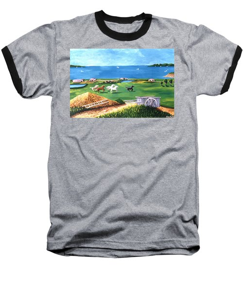 Baseball T-Shirt featuring the painting Ocean Ranch by Lance Headlee