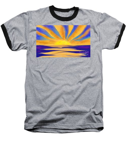 Ocean Sunrise Baseball T-Shirt by Anita Lewis