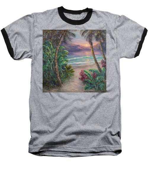 Ocean Sunrise Painting With Tropical Palm Trees  Baseball T-Shirt