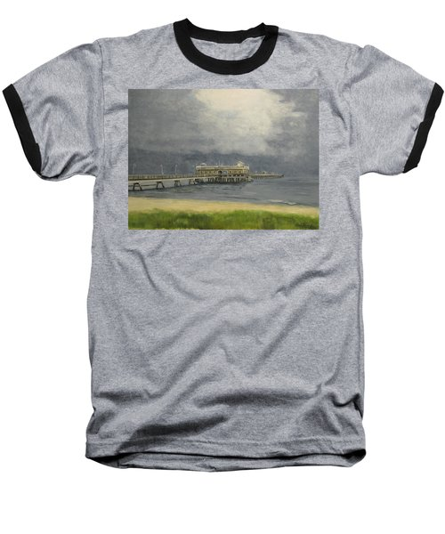 Baseball T-Shirt featuring the painting Ocean View Pier by Stan Tenney