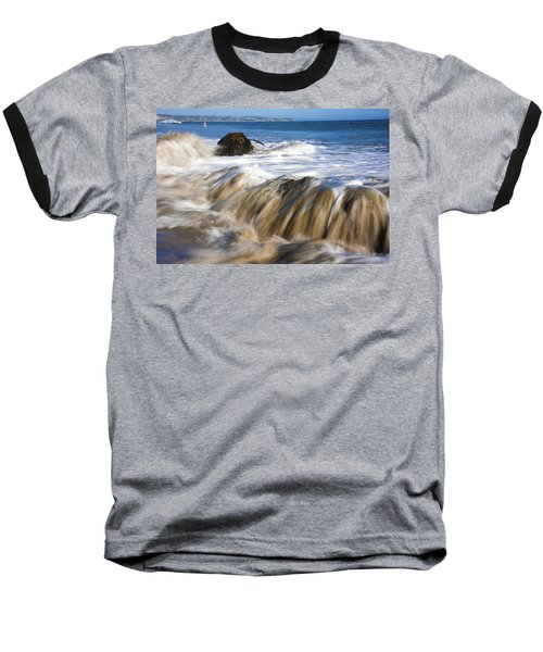 Ocean Waves Breaking Over The Rocks Photography Baseball T-Shirt