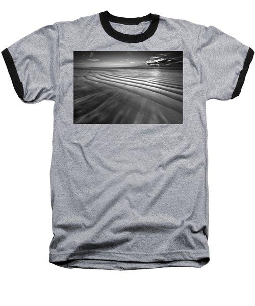 Ocean Waves Seascape Beach Sunrise Photograph In Black And White Baseball T-Shirt