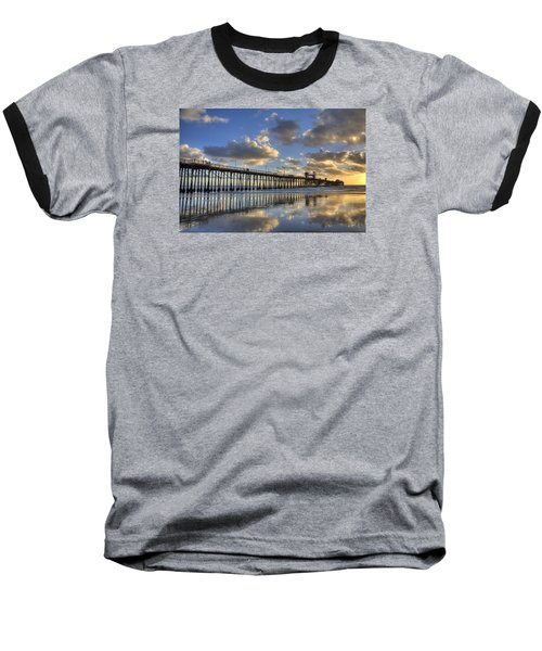 Oceanside Pier Sunset Reflection Baseball T-Shirt by Peter Tellone