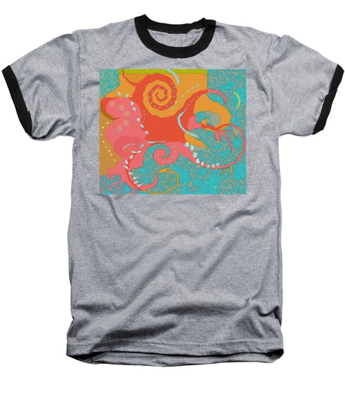 Baseball T-Shirt featuring the painting Octopus 1 by David Klaboe