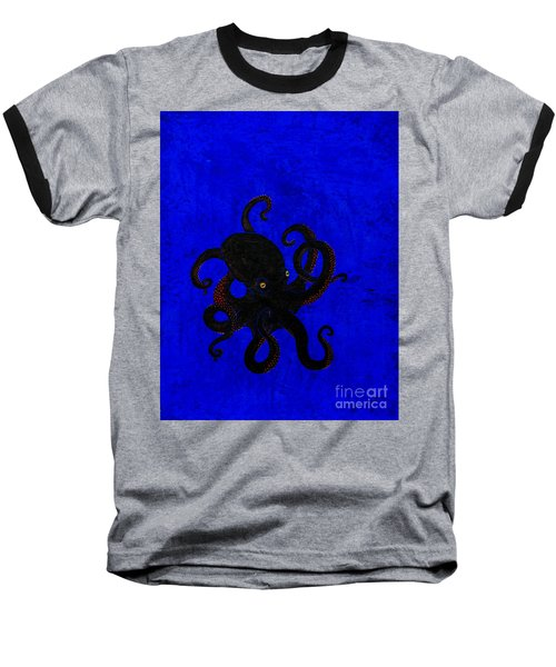 Octopus Black And Blue Baseball T-Shirt by Stefanie Forck