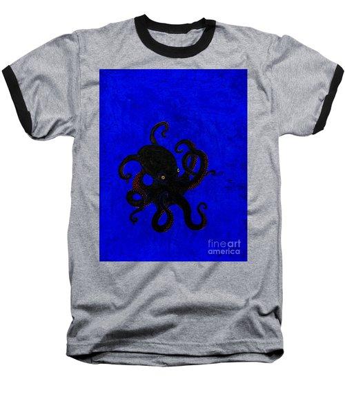 Octopus Black And Blue Baseball T-Shirt