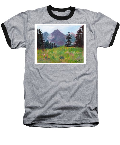 Baseball T-Shirt featuring the painting Off The Trail 2 by C Sitton