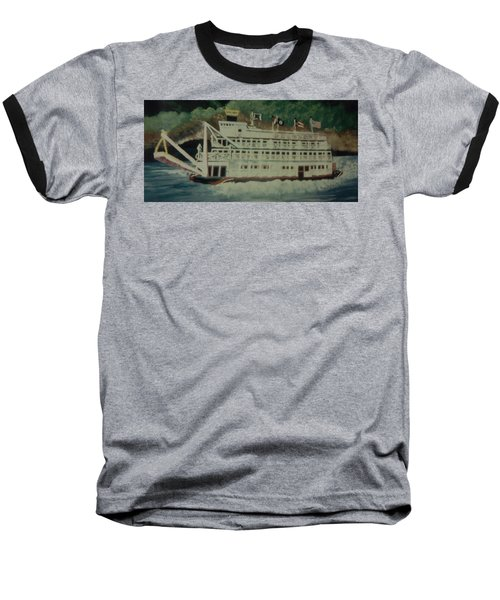 Baseball T-Shirt featuring the painting Ohio Riverboat by Christy Saunders Church