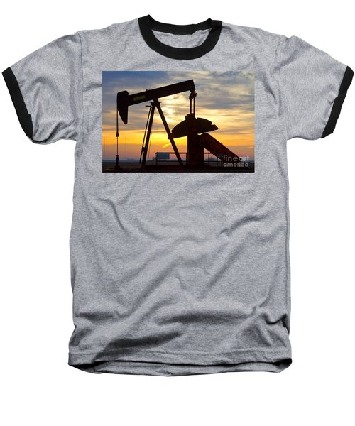 Oil Pump Sunrise Baseball T-Shirt