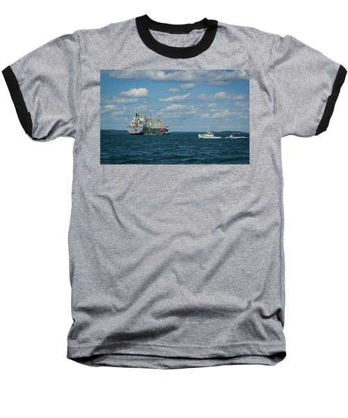 Baseball T-Shirt featuring the photograph Oil Tanker And Lobster Boat by Jane Luxton