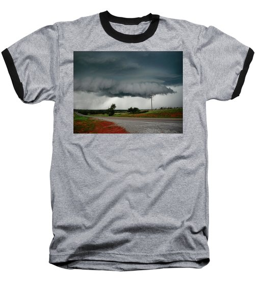 Baseball T-Shirt featuring the photograph Oklahoma Wall Cloud by Ed Sweeney