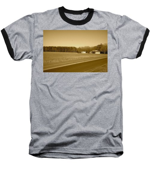 Old Barn And Farm Field In Sepia Baseball T-Shirt by Amazing Photographs AKA Christian Wilson