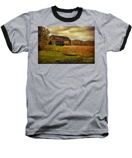 Old Barn In October Baseball T-Shirt by Lois Bryan