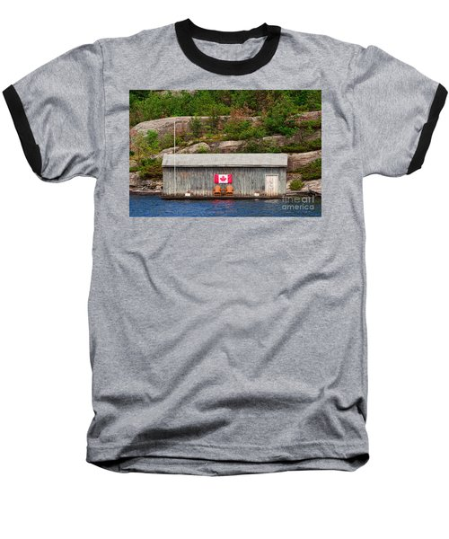 Old Boathouse With Two Muskoka Chairs Baseball T-Shirt by Les Palenik