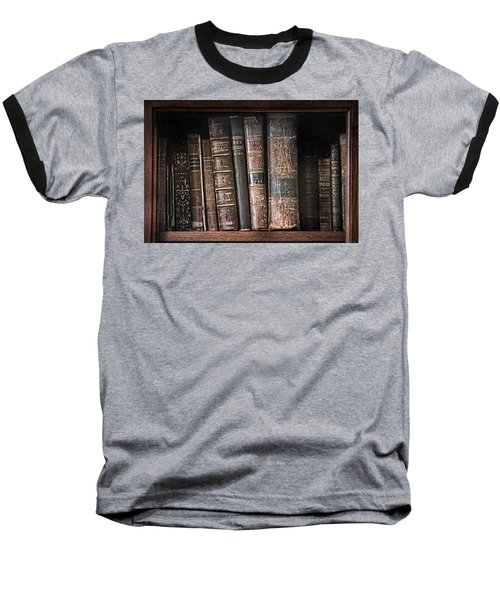 Old Books On The Shelf - 19th Century Library Baseball T-Shirt
