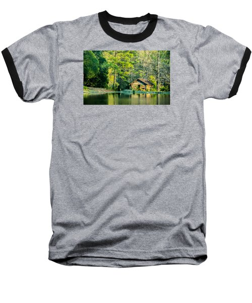 Old Cabin By The Pond Baseball T-Shirt