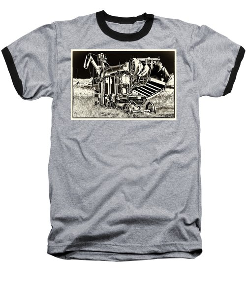Old Case Thresher - Black And White Baseball T-Shirt