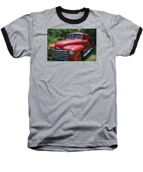 Old Chevy Fire Engine Baseball T-Shirt