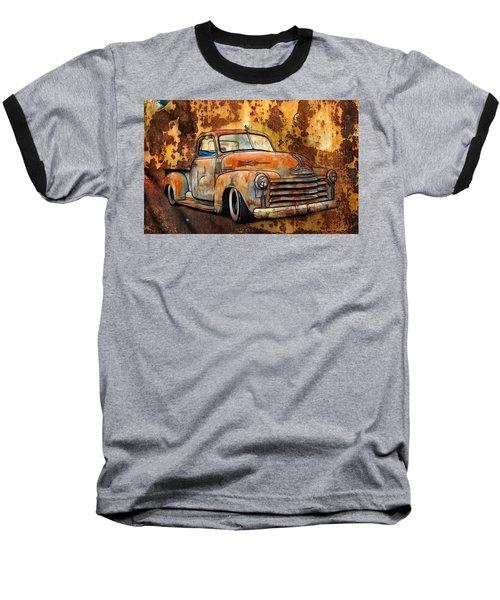 Old Chevy Rust Baseball T-Shirt by Steve McKinzie