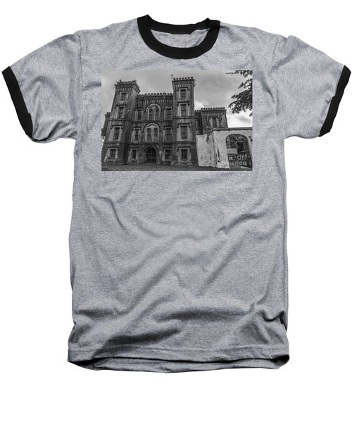 Old City Jail In Black And White Baseball T-Shirt