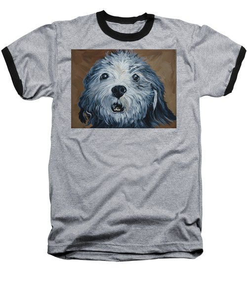 Baseball T-Shirt featuring the painting Old Dogs Are The Best Dogs by Leslie Manley