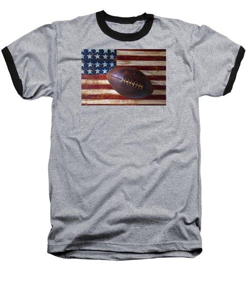Old Football On American Flag Baseball T-Shirt by Garry Gay