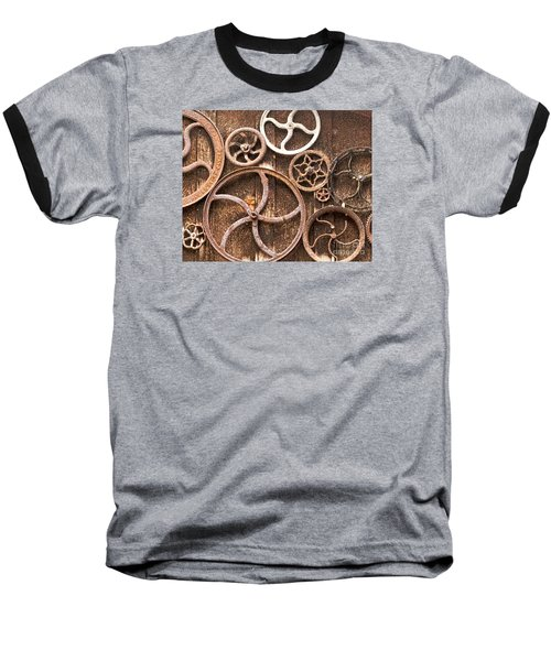 Baseball T-Shirt featuring the photograph Old Gears In Genoa Nevada by Artist and Photographer Laura Wrede