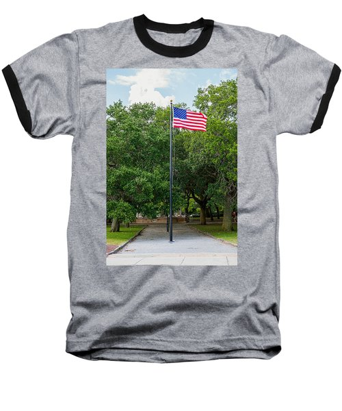 Baseball T-Shirt featuring the photograph Old Glory High And Proud by Sennie Pierson