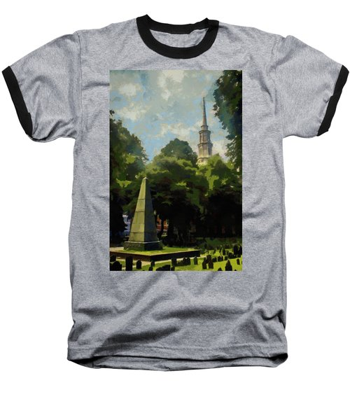 Baseball T-Shirt featuring the painting Old Granery Burying Ground by Jeff Kolker