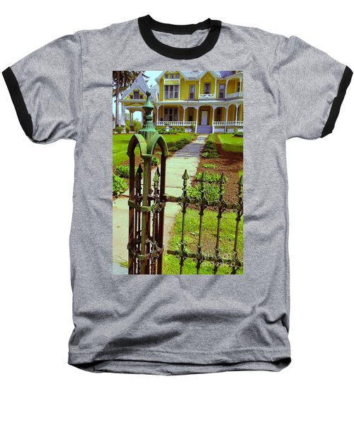 Baseball T-Shirt featuring the photograph Old Green Wrought Iron Gate by Becky Lupe