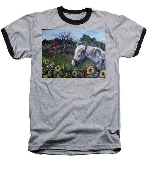 Baseball T-Shirt featuring the painting Old Grey Mare by Megan Walsh