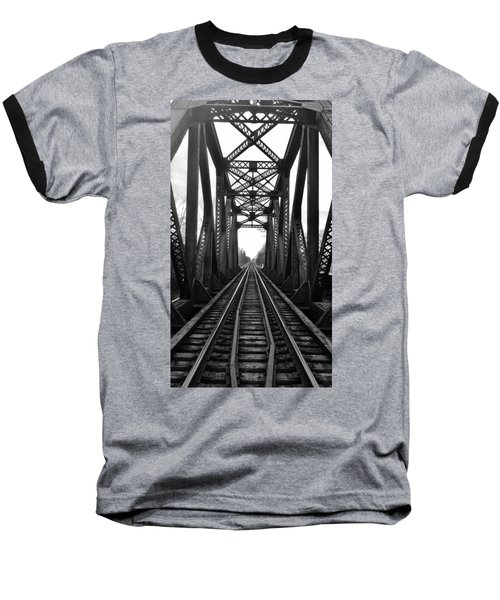 Old Huron River Rxr Bridge Black And White  Baseball T-Shirt
