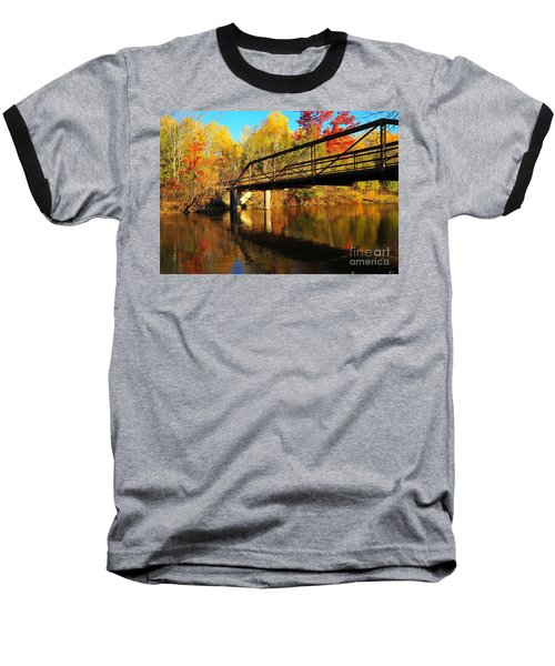 Baseball T-Shirt featuring the photograph Historic Harvey Bridge Over Manistee River In Wexford County Michigan by Terri Gostola