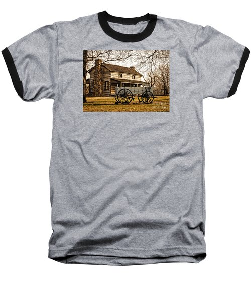 Old Log Cabin In Autumn Baseball T-Shirt