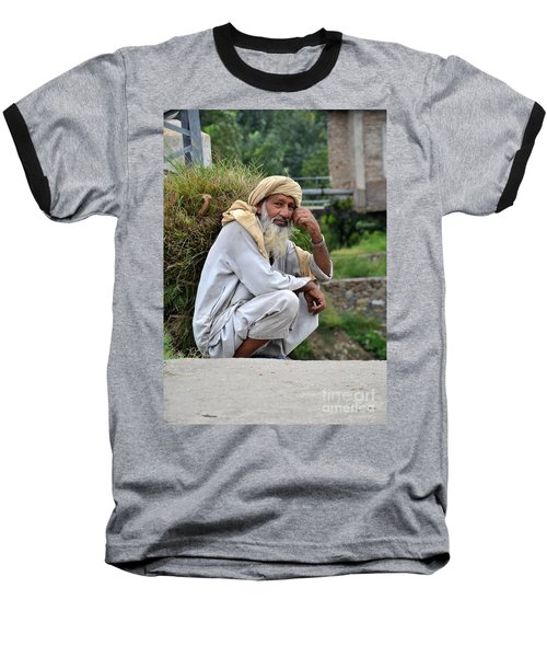 Old Man Carrying Fodder Swat Valley Kpk Pakistan Baseball T-Shirt by Imran Ahmed