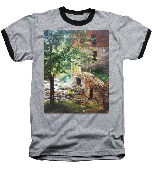 Old Mill Stream I Baseball T-Shirt by Lori Brackett