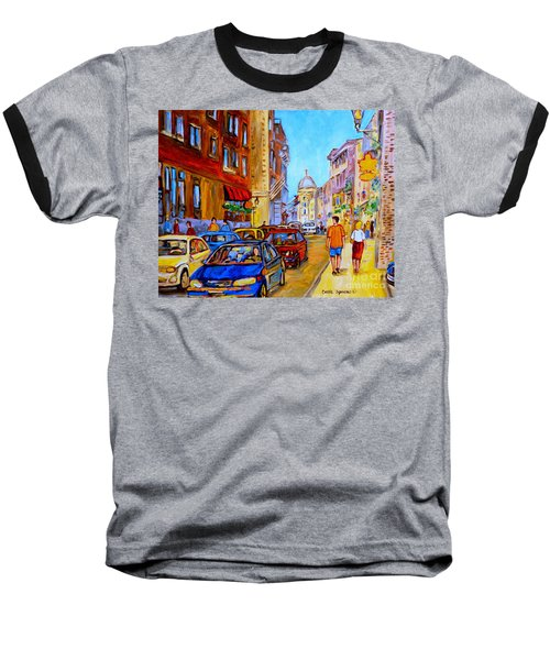 Baseball T-Shirt featuring the painting Old Montreal by Carole Spandau