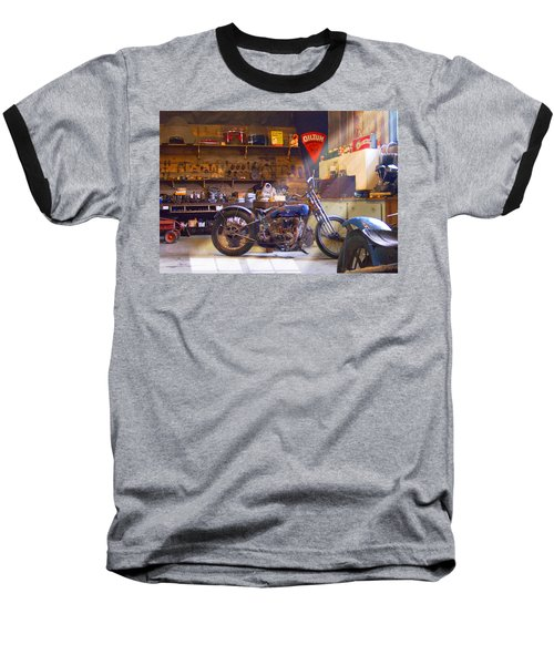 Old Motorcycle Shop 2 Baseball T-Shirt by Mike McGlothlen