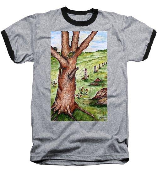 Old Oak Tree With Birds' Nest Baseball T-Shirt