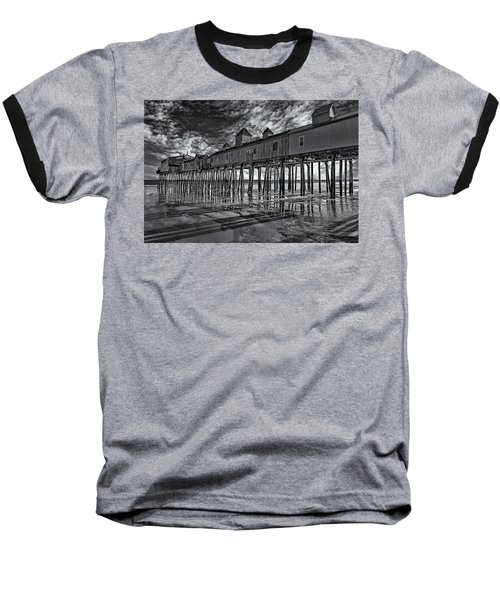 Old Orchard Beach Pier Bw Baseball T-Shirt by Susan Candelario