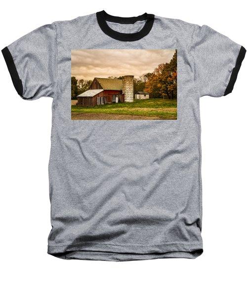 Old Red Barn And Silo Baseball T-Shirt