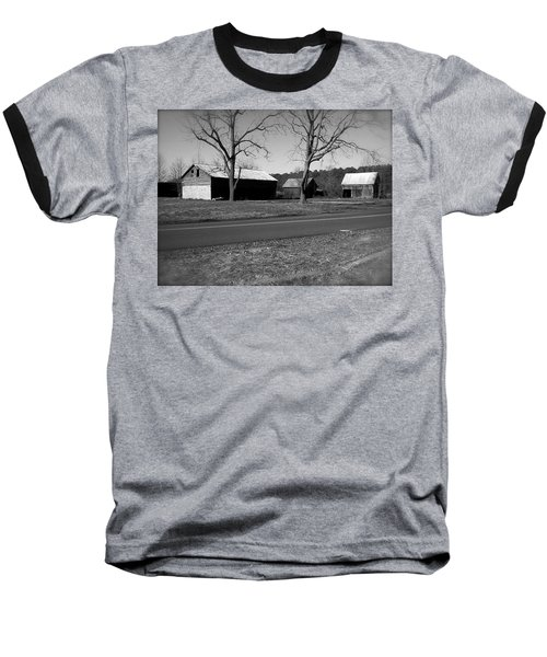 Old Red Barn In Black And White Baseball T-Shirt by Amazing Photographs AKA Christian Wilson