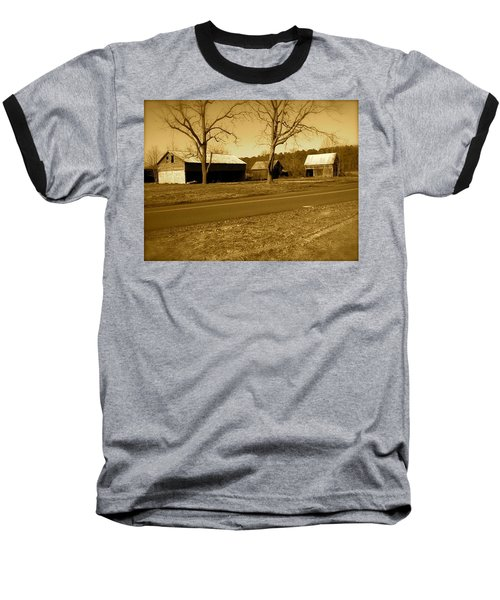 Old Red Barn In Sepia Baseball T-Shirt by Amazing Photographs AKA Christian Wilson